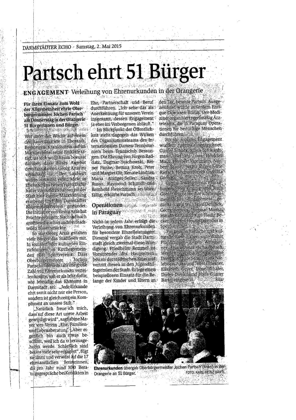 Zeitungsartikel Darmstädter Echo 02.05.2015